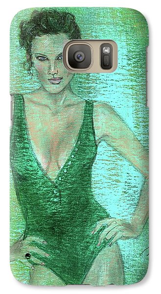 Galaxy Case featuring the painting Emerald Greem by P J Lewis