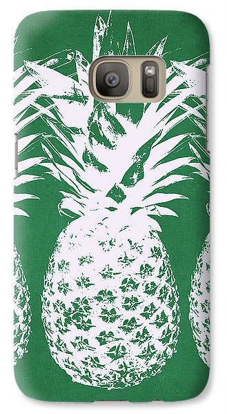 Galaxy Case featuring the mixed media Emerald Pineapples- Art By Linda Woods by Linda Woods