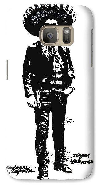 Galaxy Case featuring the drawing Emiliano Zapata by Antonio Romero