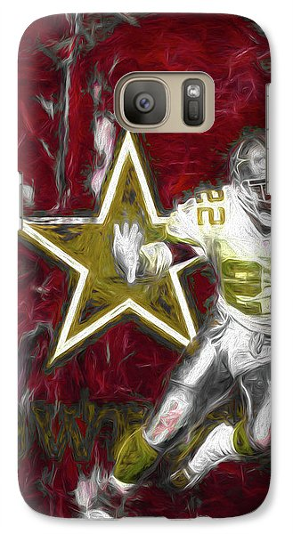 Galaxy Case featuring the photograph Emmitt Smith Nfl Dallas Cowboys Gold Digital Painting 22 by David Haskett