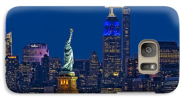 Empire State And Statue Of Liberty II Galaxy Case by Susan Candelario