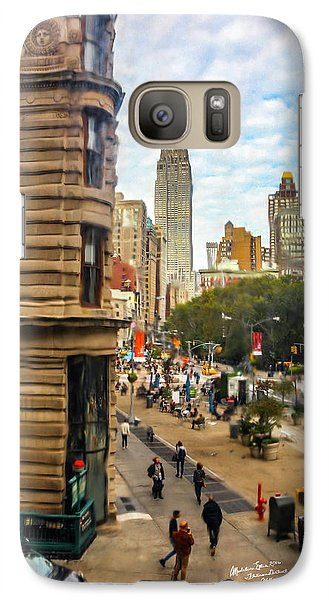 Galaxy Case featuring the photograph Empire State Building - Crackled View 3 by Madeline Ellis