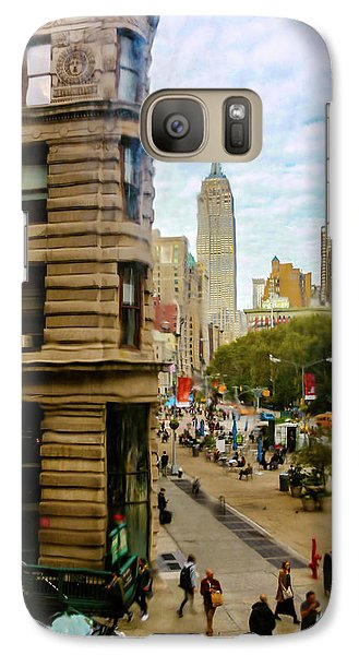 Galaxy Case featuring the photograph Empire State Building - Crackled View by Madeline Ellis