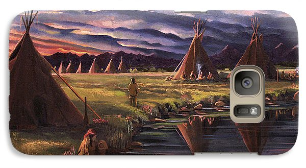 Galaxy Case featuring the painting Encampment At Dusk by Nancy Griswold
