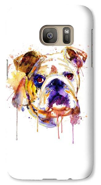 Galaxy Case featuring the mixed media English Bulldog Head by Marian Voicu