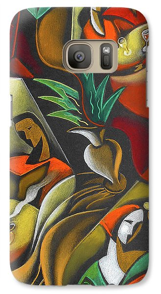 Galaxy Case featuring the painting Enjoying Food And Drink by Leon Zernitsky