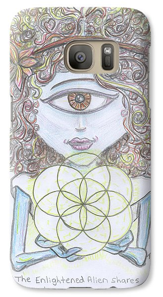Galaxy Case featuring the drawing Enlightened Alien by Similar Alien