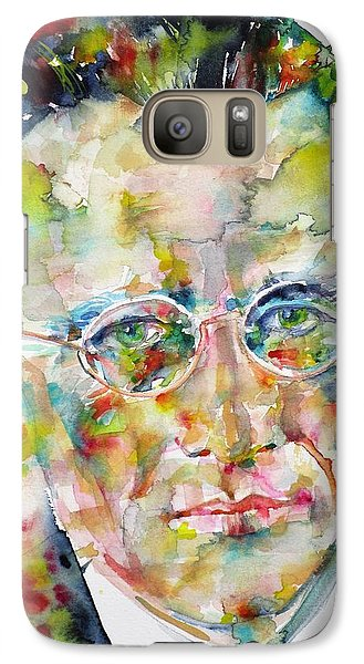 Galaxy Case featuring the painting Erwin Schrodinger - Watercolor Portrait by Fabrizio Cassetta