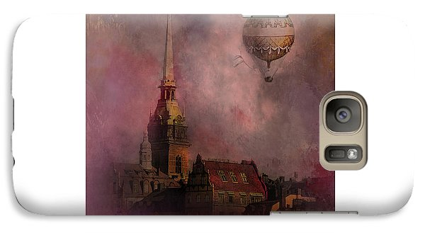 Galaxy Case featuring the digital art Stockholm Church With Flying Balloon by Jeff Burgess