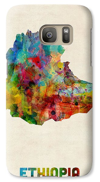 Galaxy Case featuring the digital art Ethiopia Watercolor Map by Michael Tompsett