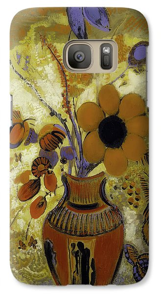 Galaxy Case featuring the painting Etrusian Vase With Flowers by Odilon Redon