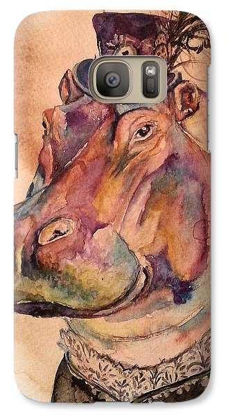 Galaxy Case featuring the painting Eunice Hippo by Christy  Freeman