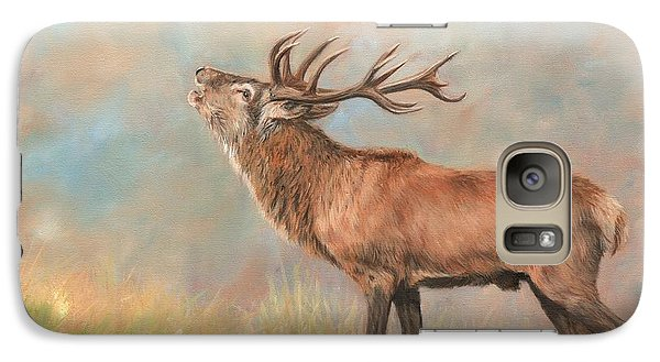 Galaxy Case featuring the painting European Red Deer by David Stribbling