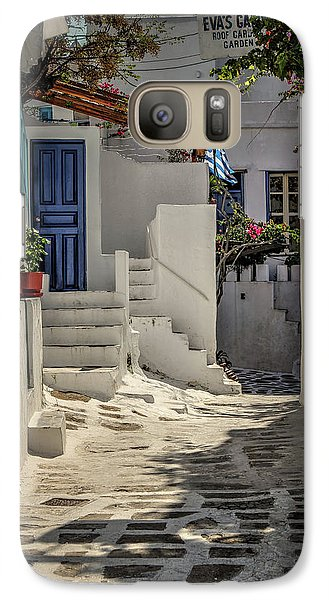 Galaxy Case featuring the photograph Eva's Garden Cafe Mykonos by Tom Prendergast