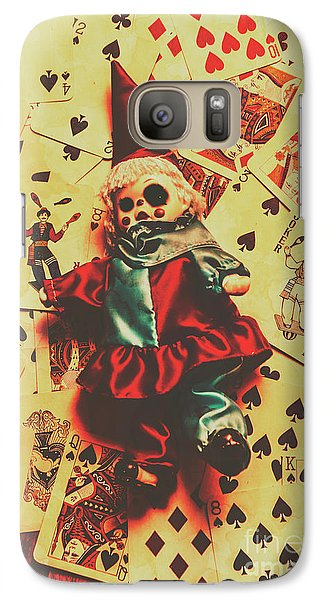 Evil Clown Doll On Playing Cards Galaxy S7 Case