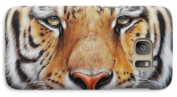 Galaxy Case featuring the drawing Faces Of The Wild - Amur Tiger by Elena Kolotusha