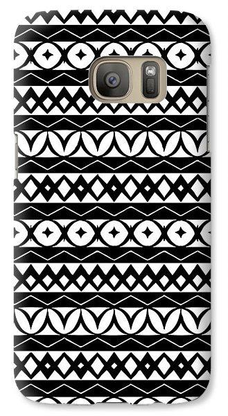 Fair Isle Black And White Galaxy S7 Case by Rachel Follett