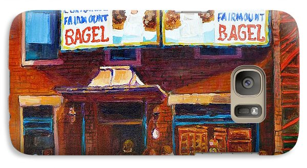 Galaxy Case featuring the painting Fairmount Bagel With Blue Car  by Carole Spandau
