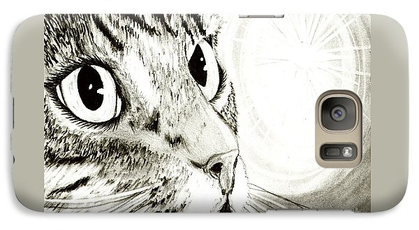 Galaxy Case featuring the drawing Fairy Light Tabby Cat Drawing by Carrie Hawks