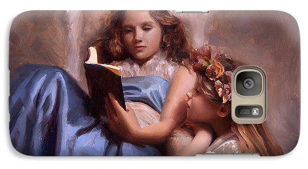 Galaxy Case featuring the painting Fairytales And Lace - Portrait Of Girls Reading A Book by Karen Whitworth
