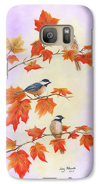 Galaxy Case featuring the painting Fall Chickadees by Judy Filarecki