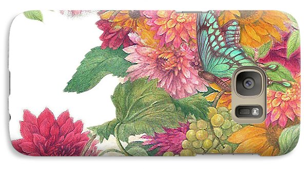 Galaxy Case featuring the painting Fall Florals With Illustrated Butterfly by Judith Cheng