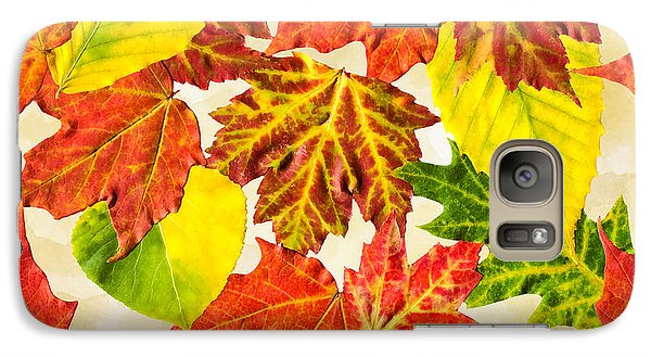 Galaxy S7 Case featuring the mixed media Fall Leaves Pattern by Christina Rollo