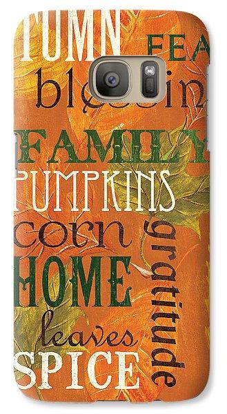 Pumpkin Galaxy S7 Case - Fall Typography 1 by Debbie DeWitt