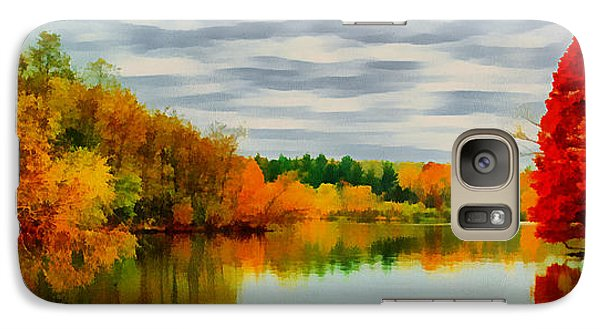 Galaxy Case featuring the painting Fall Water Painterly Rendering by Michael Flood