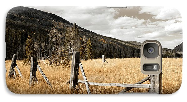 Galaxy Case featuring the photograph Fallowfield Weathered Fence Rocky Mountain National Park Dramatic Sky by John Stephens
