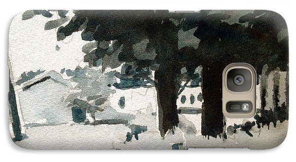 Galaxy Case featuring the painting Family Farm Black And White Study by Charlie Spear