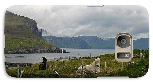 Galaxy Case featuring the photograph Faroe Islands Horses by Susanne Baumann