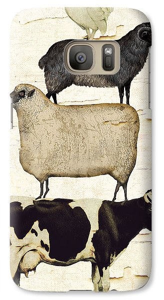 Cow Galaxy S7 Case - Farm Animals Pileup by Mindy Sommers