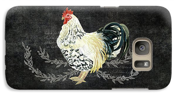 Galaxy Case featuring the painting Farm Fresh Rooster 3 - On Chalkboard W Diamond Pattern Border by Audrey Jeanne Roberts