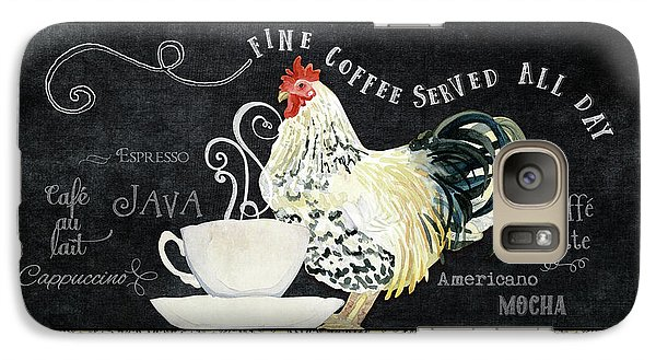 Galaxy Case featuring the painting Farm Fresh Rooster 5 - Coffee Served Chalkboard Cappuccino Cafe Latte  by Audrey Jeanne Roberts