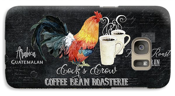 Galaxy Case featuring the painting Farm Fresh Rooster 6 - Coffee Bean Roasterie French Roast by Audrey Jeanne Roberts