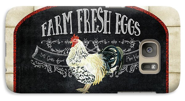 Galaxy Case featuring the painting Farm Fresh Roosters 1 - Fresh Eggs Typography by Audrey Jeanne Roberts