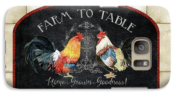 Galaxy Case featuring the painting Farm Fresh Roosters 2 - Farm To Table Chalkboard by Audrey Jeanne Roberts