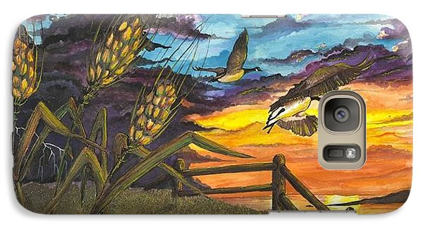Galaxy Case featuring the painting Farm Sunset by Darren Cannell