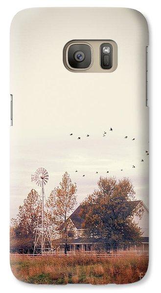 Galaxy Case featuring the photograph Farmhouse And Windmill by Jill Battaglia