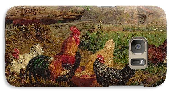 Farmyard Chickens Galaxy Case by Carl Jutz