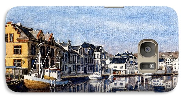 Galaxy Case featuring the painting Farsund Dock Scene 2 by Janet King