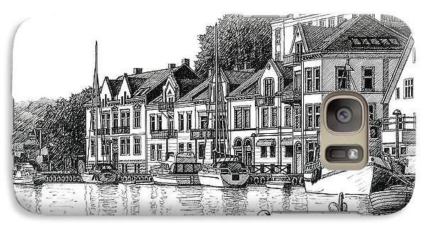Galaxy Case featuring the drawing Farsund Harbor In Ink by Janet King