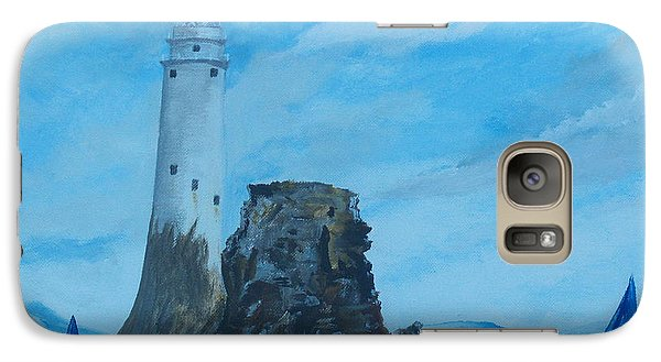 Galaxy Case featuring the painting Fastnet Rock Lighthouse. by Conor Murphy