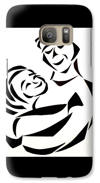 Galaxy Case featuring the mixed media Father And Child by Delin Colon