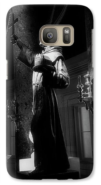 Galaxy Case featuring the photograph Father Junipero Serra In Black And White by Chrystal Mimbs
