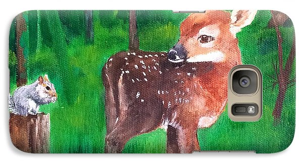 Galaxy Case featuring the painting Fawn With Squirrel by Ellen Canfield