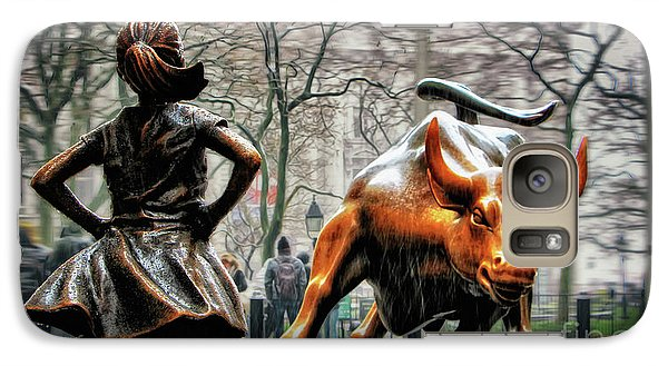 Fearless Girl And Wall Street Bull Statues Galaxy S7 Case