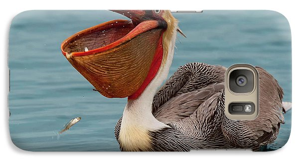 Galaxy Case featuring the photograph Feasting Brown Pelican  by Ram Vasudev