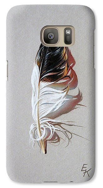 Galaxy Case featuring the drawing Feather And Shadow 3 by Elena Kolotusha